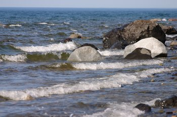 Waves and rocks on the shore of Lake Iliamna.