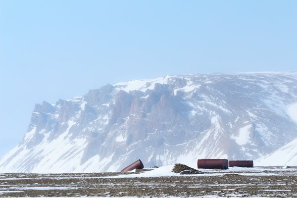 The Lost River mining camp left behind a plethora of detritus, including these train-car sized fuel tanks.