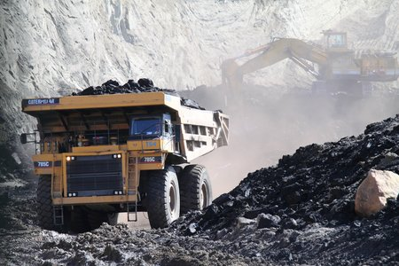 Machinery pulls coal out of Two Bull Ridge coal mine.