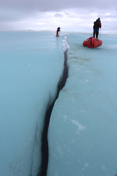 Katmai prepares to cross an open crack in the ice.
