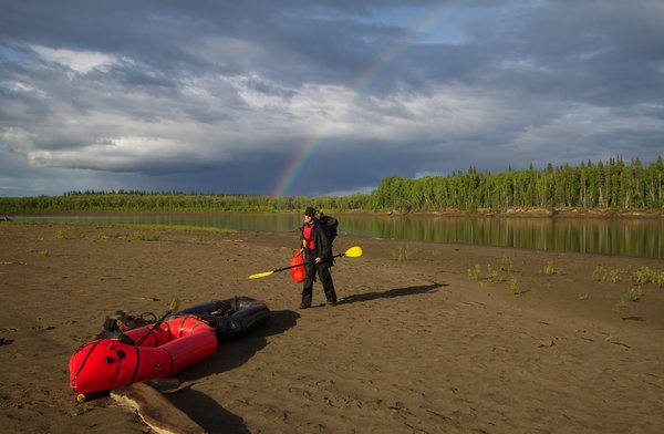 We joined our two packrafts together with a long spruce sapling keel for our three week paddle down the Kuskokwim River.