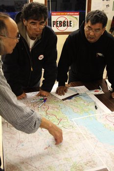 Native elders from Nondalton and Dillingham discuss areas where they hunt for caribou.