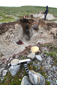 Photos taken while digging a large trench through a possible active fault near Lake Iliamna.