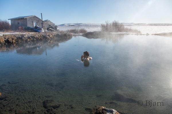 After five weeks of being bundled up in winter clothing, an opportunity to undress and soak weary muscles in Granite Hot Springs was welcome.