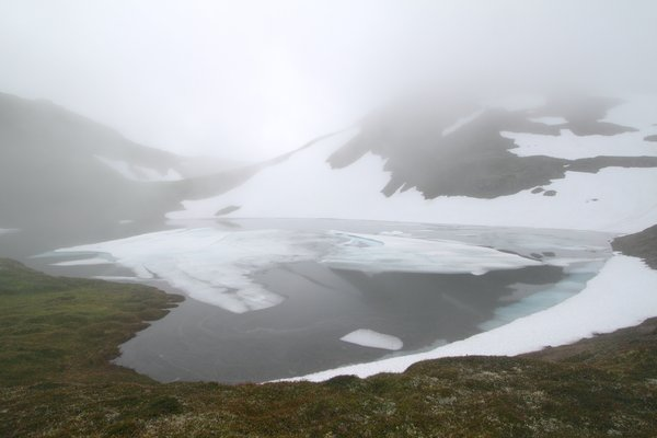 2500 feet above sea level is enough to leave ice on this alpine lake through July.