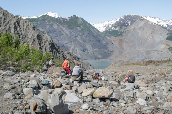 The crew of researchers take a rest after ascending to the highest water mark of the landslide generated tsunami, in Taan Fjord - in excess of 600 feet.