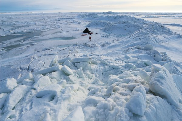 The motion of sea ice leads to tall piles of ice out on the ocean.