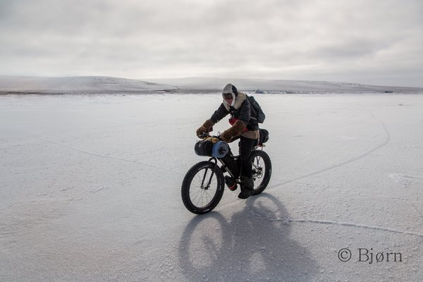 Over our 1000+ mile fat-bike trip to the Alaskan arctic we rode on and through many trail conditions - hoar frost over sea ice was the best.