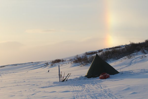 If gold sits at the end of rainbows, what sits at the end of ice-bows?  Perhaps it's our titanium woodstove.