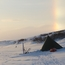 Ice bow over tent