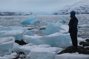 Staring across the ice-choked waters of Icy Bay in November 2007, afer the first failed crossing attempt.