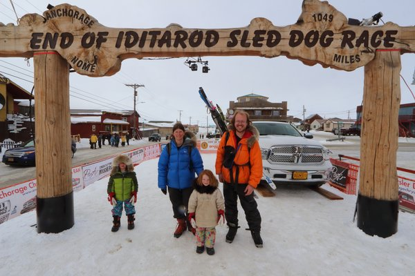 We had to swing by and get our photo taken at the Iditarod finish line.