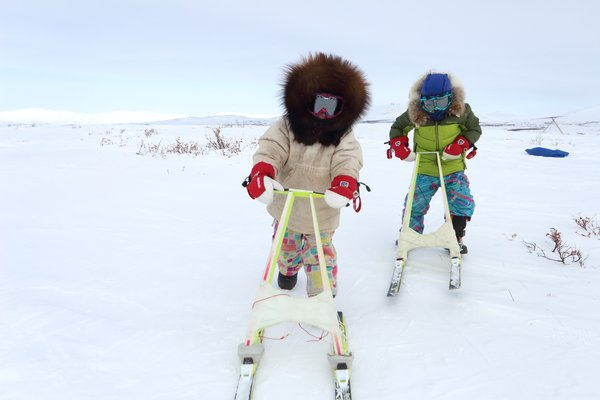 Katmai and Lituya on their kicksleds.