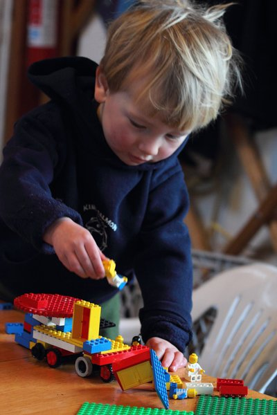 "When he's not visiting full-size construction equipment, Katmai builds ""backhoes"", ""loaders"" and ""cranes"" with his legos"