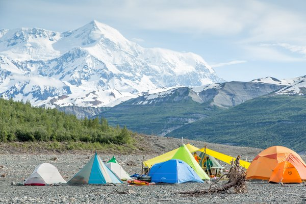 Mount Saint Elias looms above camp. This camp-site was used for each of the three expeditions to study the landslide and tsunami in Taan Fjord in the spring and summer of 2016.