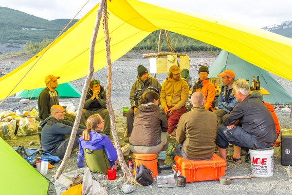 The earth science team discusses their daily findings, discoveries, insights, and makes plans for the following day. Three successful expeditions, to study the landslide generated tsunami, in Icy Bay, Alaska were undertaken in summer 2016. The main expedition, in June, consisted of fourteen people.