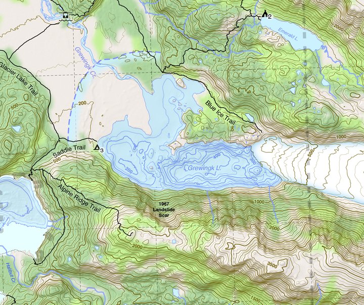 Crop of the summer 2018 version of GTT's Kachemak Bay State Park Map.