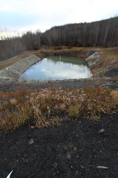 Two ponds alternate in the role of settling sediment carried by a stream coming out of the old Evan Jones coal mine.