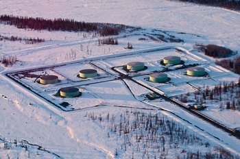 Oil storage tanks at Drift River Oil Terminal, on the west side of Cook Inlet, Alaska. Oil typically must be moved through long logistical systems of pipelines, ships, and storage tanks, as it moves from wells to refineries. Maintenance of this system is a primary focus of spill prevention & petroleum safety efforts.