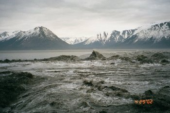 The rapidly rising tide on Turndagain Arm forms a tidal bore.
