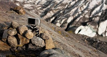 This time lapse camera watched the glacier continuously for 5 days.  This was one of 2 cameras observing the glacier.