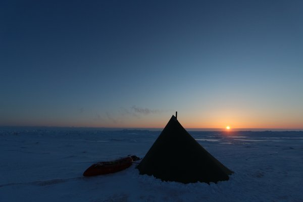 Our tent in the sunset on the Bering Sea ice.  We can get the inside to 70 degrees above the outside temperature.
